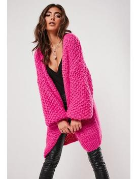 Premium Pink Chunky Hand Knit Cardigan by Missguided