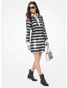 Stripe Sequined Rugby Dress by Michael Michael Kors