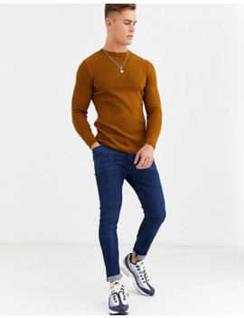 New Look Ribbed Muscle Fit Sweater In Black by New Look