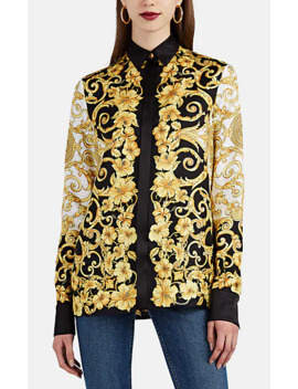 Hibiscus Print Silk Blouse by Versace