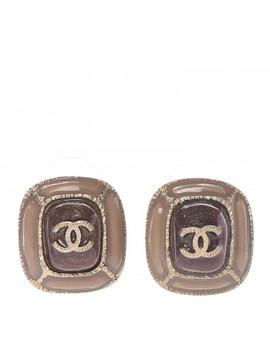 Chanel Glitter Enamel Cc Earrings Beige Gold by Chanel