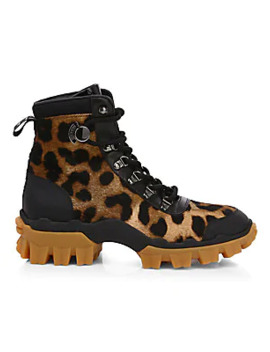 Helis Leopard Print Calf Hair & Leather Hiking Boots by Moncler