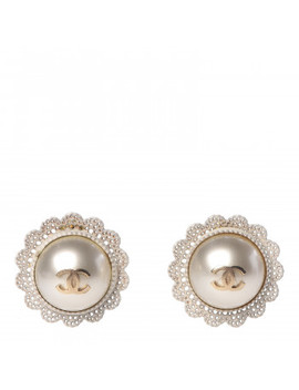 Chanel Pearl Cc Lace Earrings Gold by Chanel
