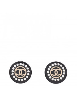 Chanel Resin Crystal Cc Earrings Black by Chanel