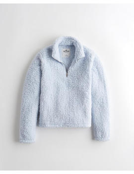 Sherpa Half Zip Mockneck Sweatshirt by Hollister