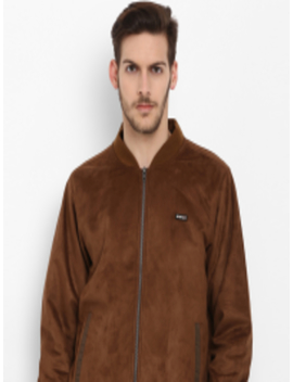 Men Brown Solid Lightweight Bomber by Cloak & Decker By Monte Carlo
