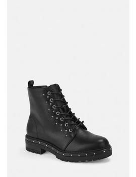 Black Faux Leather Stud Detail Biker Boots by Missguided