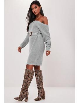 Grey Off The Shoulder Belted Knitted Dress by Missguided