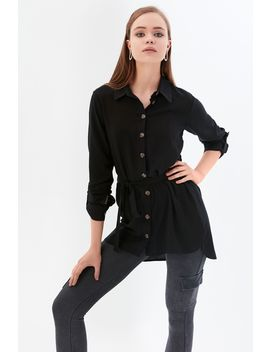 Black Horn Button Longline Shirt by Select