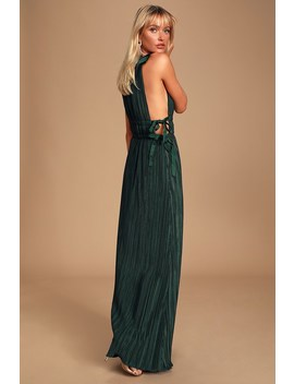 My Forever Love Forest Green Pleated Maxi Dress by Lulus
