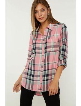 Pink Longline Viscose Check Shirt by Select