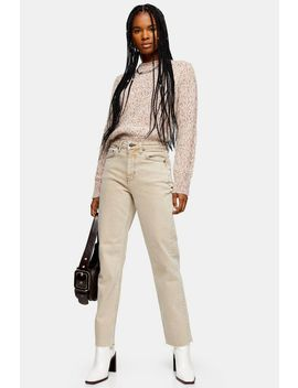 Sand Raw Hem Straight Jeans by Topshop