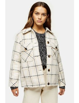 Petite Cream Check Jacket by Topshop