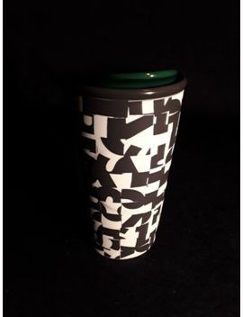 Starbucks Black & White Double Wall Ceramic Travel Mug 2014 Excellent by Starbucks
