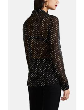 Star Print Silk Chiffon Tieneck Blouse by Saint Laurent