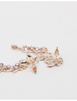 Lipsy Floral Embellished Drop Earring In Irridescent by Lipsy