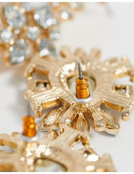 Asos Design Pack Of 4 Crystal Jewel Stud Earrings In Gold Tone by Asos Design