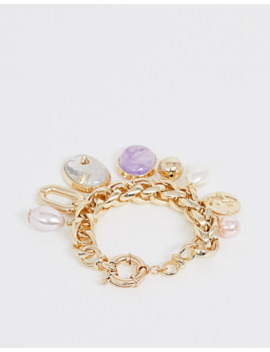 Asos Design Bracelet With Pastel Pearl And Stone Charms In Gold Tone by Asos Design