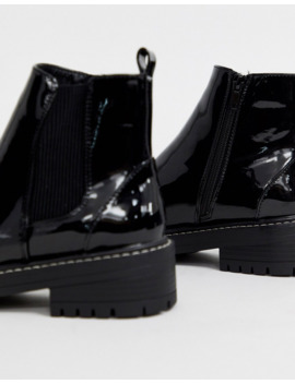 River Island Flat Ankle Boots In Patent Black by River Island