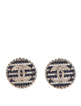 Chanel Enamel Cc Earrings Blue Gold by Chanel