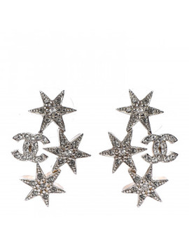 Chanel Crystal Cc Star Earrings Silver by Chanel