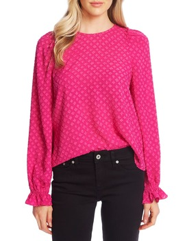 Clip Floral Jacquard Ruffle Sleeve Blouse by Cece
