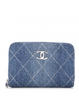 Chanel Denim Quilted Zip Coin Purse Blue by Chanel