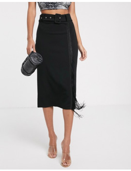 Pretty Little Thing Midi Skirt With Fringe Detail In Black by Pretty Little Thing