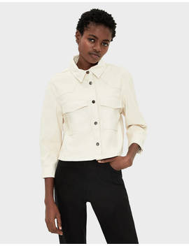 Faux Leather Cropped Shirt by Bershka
