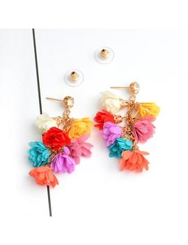 Winter Charm Romantic Drop Flowers Beige Pink Blue Grey Colorful Tassels Drop Earrings Bohemia Ethnic Boho Earrings by D Hgate.Com
