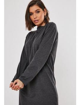 Grey Basic Long Sleeve T Shirt Dress by Missguided