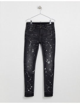 Asos Design Super Skinny Jeans In Washed Black With Paint Splatter by Asos Design