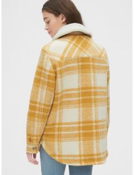 Plaid Wool Blend Shirt Jacket With Detachable Sherpa Collar by Gap