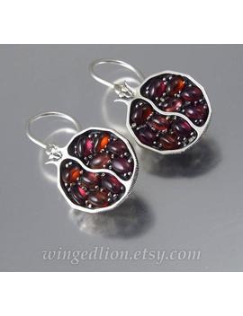 Pomegranate Garnet Silver Earrings Ready To Ship by Etsy