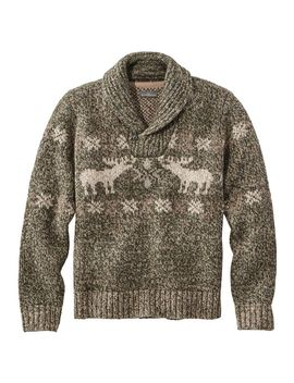 Signature Ragg Wool Sweater, Shawl Pullover, Moose Fair Isle by L.L.Bean