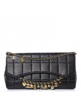Chanel Lambskin Quilted Crystal Chocolate Bar Charm Flap Black by Chanel