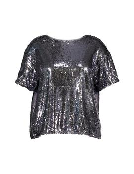 Plus Sequin Split Back T Shirt by Boohoo