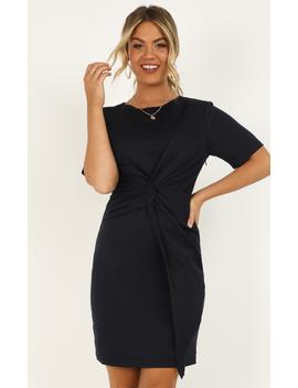 Works A Charm Knot Dress In Navy by Showpo Fashion