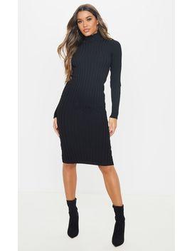 Black Stretch Knitted Bodycon Midi Dress by Prettylittlething