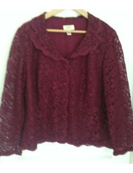 Talbots Woman Burgundy Lace Top Shirt W/ Lining   Size 14 W 1 X Jacket by Talbots