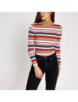 Pink Stripe High Neck Long Sleeve Knitted Top by River Island