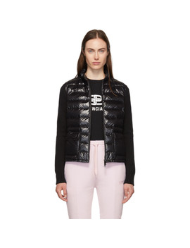 Black Down & Wool High Neck Jacket by Moncler