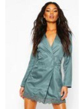 Lace Trim Button Down Blazer Dress Lace Trim Button Down Blazer Dress by Boohoo