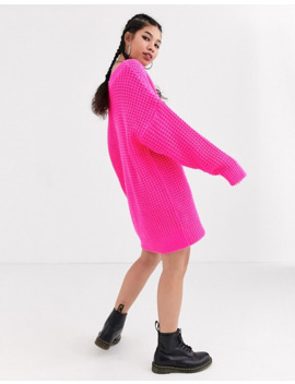 Collusion Chunky Cable Knit V Neck Sweater Dress In Pink by Collusion