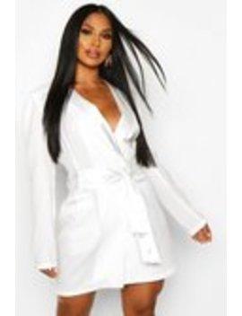 Satin Detail Tie Front Blazer Dress Satin Detail Tie Front Blazer Dress by Boohoo
