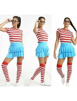 <Span><Span>Womens Ladies Wheres Wally Stripes T Shirt Kit Hen Party Costume Book Week Day</Span></Span> by Ebay Seller