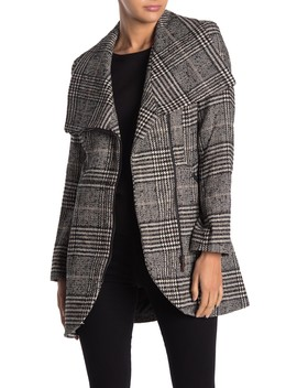 Plaid Wing Collar Coat by French Connection