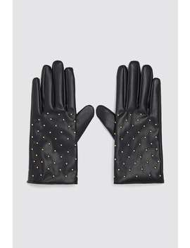 Faux Leather Gloves With Mini Studs by Zara