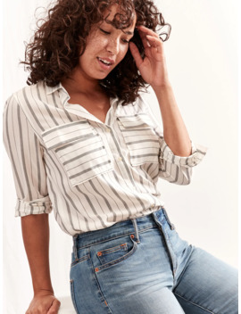 Stripe Utility Boyfriend Shirt by Gap