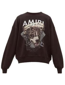 Pitbull Print Cotton Sweatshirt by Amiri